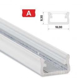 Led profil led szalagokhoz,Standard, fehér 1 méteres, alumínium