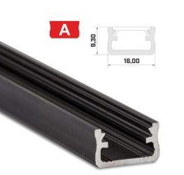 Led profil led szalagokhoz, Standard, fekete 1 méteres, alumínium
