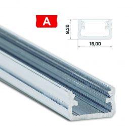 Led profil led szalagokhoz, Standard, natúr 2 méteres, alumínium