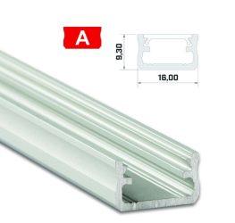 Led profil led szalagokhoz, Standard, ezüst 2 méteres, alumínium
