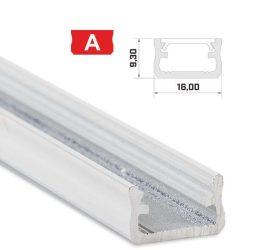 Led profil led szalagokhoz,Standard, fehér 2 méteres, alumínium