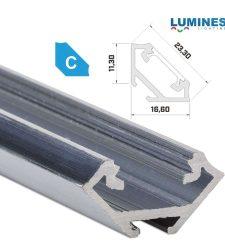 Led profil led szalagokhoz, sarokba rögzíthető, natúr, 1 méteres, alumínium