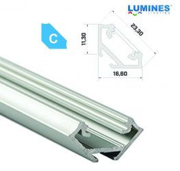 Led profil led szalagokhoz, sarokba rögzíthető, ezüst, 1 méteres, alumínium