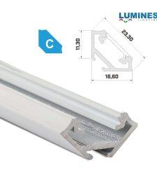 Led profil led szalagokhoz, sarokba rögzíthető, fehér, 1 méteres, alumínium