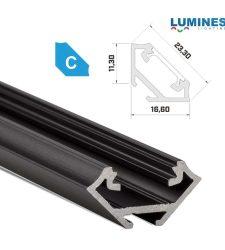 Led profil led szalagokhoz Sarokba rögzíthető fekete 1 méteres alumínium
