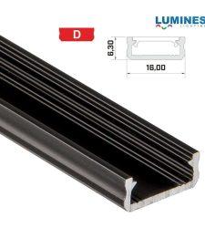 Led profil led szalagokhoz általános U alakú fekete 2 méteres alumínium