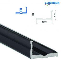 Led profil led szalagokhoz,  szélesebb L alakú,  fekete, 1 méteres