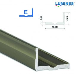 Led profil led szalagokhoz,  szélesebb L alakú, bronz, 2 méteres