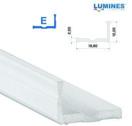 Led profil led szalagokhoz,  szélesebb L alakú, fehér, 2 méteres