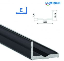 Led profil led szalagokhoz,  szélesebb L alakú, fekete, 2 méteres
