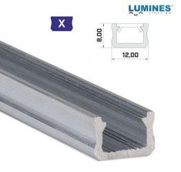 Led profil led szalagokhoz, keskeny, natúr, 2 méteres, alumínium
