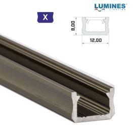 Led profil led szalagokhoz, keskeny, bronz, 2 méteres, alumínium