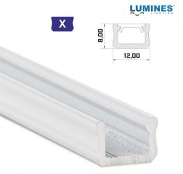 Led profil led szalagokhoz, keskeny, fehér, 2 méteres, alumínium