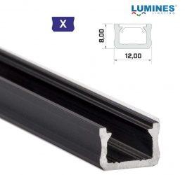 Led profil led szalagokhoz, keskeny,  fekete, 2 méteres, alumínium