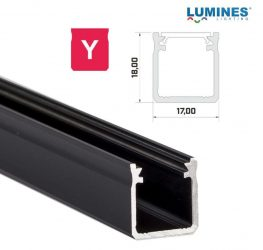 Led profil, led szalagokhoz, Magas falú  fekete, 1 méteres, alumínium