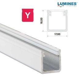 Led profil, led szalagokhoz, Magas falú  fehér, 2 méteres, alumínium