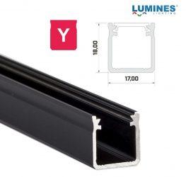Led profil, led szalagokhoz, Magas falú  fekete, 2 méteres, alumínium