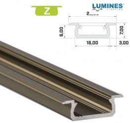 Led profil led szalagokhoz, beépíthető, bronz, 2 méteres, alumínium