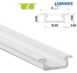 Led profil led szalagokhoz, beépíthető, fehér, 2 méteres, alumínium