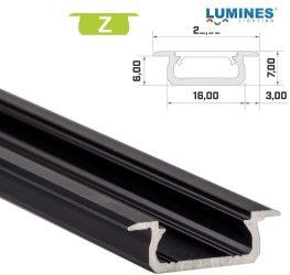 Led profil led szalagokhoz, beépíthető, fekete, 2 méteres, alumínium