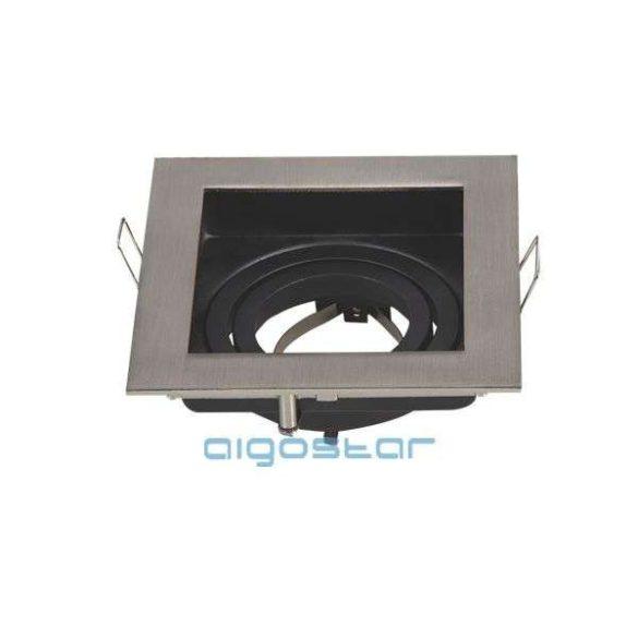 LED spot lámpa beépítő keret szögletes TS71 INOX GU10 és MR16-os LED izzókhoz