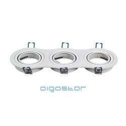 LED spot lámpa beépítő keret kerek tripla M1030R-03 fehér GU10 és MR16-os LED izzókhoz