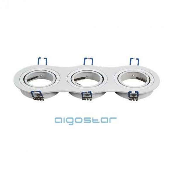 Aigostar LED spot lámpa beépítő keret kerek tripla M1030R-03 fehér GU10 és MR16-os LED izzókhoz