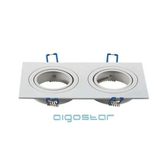 LED spot lámpa beépítő keret szügletes M1030S-02 fehér GU10 és MR16-os LED izzókhoz
