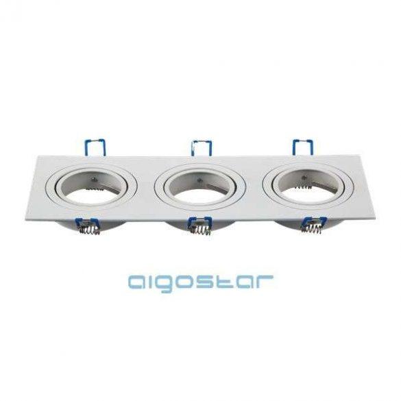 LED spot lámpa beépítő keret szügletes tripla M1030S-03 fehér GU10 és MR16-os LED izzókhoz