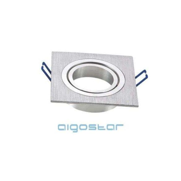 LED spot lámpa beépítő keret szügletes M1030S-01 ezüst GU10 és MR16-os LED izzókhoz