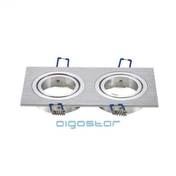LED spot lámpa beépítő keret szügletes M1030S-02 ezüst GU10 és MR16-os LED izzókhoz