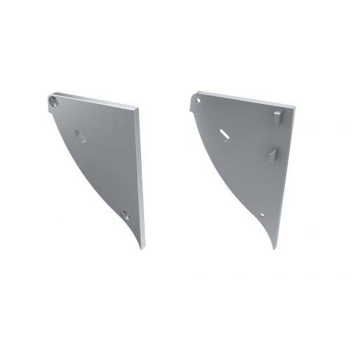 Alumínium Végzáró CONVA típusú led profilokhoz Ezüst Jobbos Lyukas