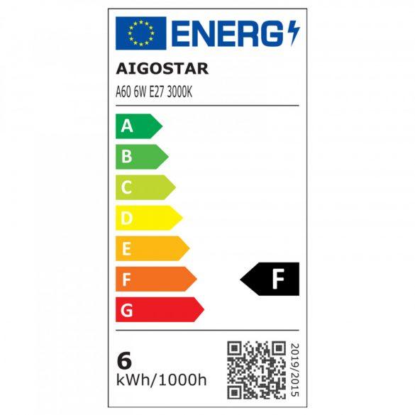 Aigostar LED Gömb izzó A60 E27 6W Meleg fehér 280°