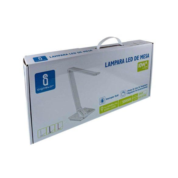 LED asztali lámpa fehér-inox 10W, érintős-fényerőszabályozható
