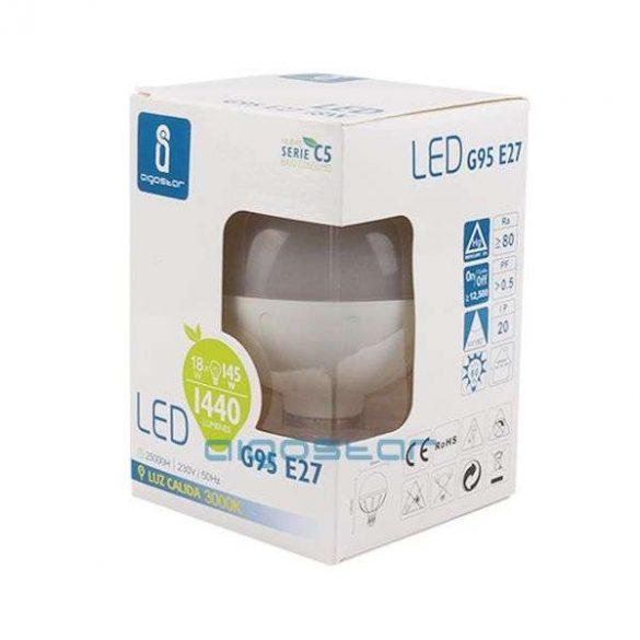 Aigostar LED izzó G95 E27 15W Hideg fehér
