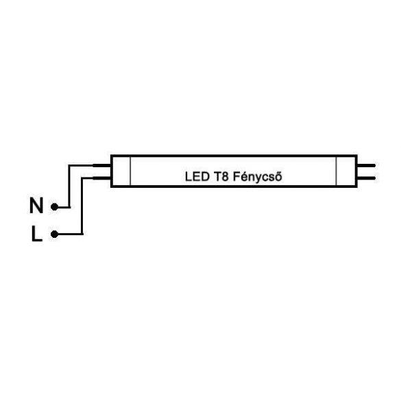 LED fénycső T8 18W 1200mm 6500K 2520lm 140lm/W alu-plastic