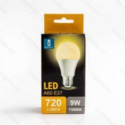 Aigostar LED izzó A60 E27 9W Meleg fehér 280° szórásszögű dobozos