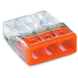 WAGO 2273-203 Vezeték összekötő 3x0-2,5mm2 átlátszó 24A narancs
