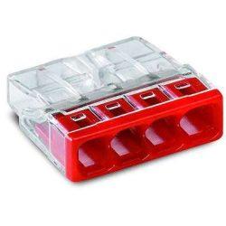 WAGO 2273-204 Vezeték összekötő 4x0-2,5 mm2 átlátszó 24A piros