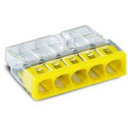 WAGO 2273-205 Vezeték összekötő 5x0-2,5mm2 átlátszó 24A sárga