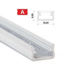 Led profil led szalagokhoz Standard fehér 1 méteres alumínium