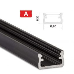 Led profil led szalagokhoz Standard fekete 2 méteres alumínium