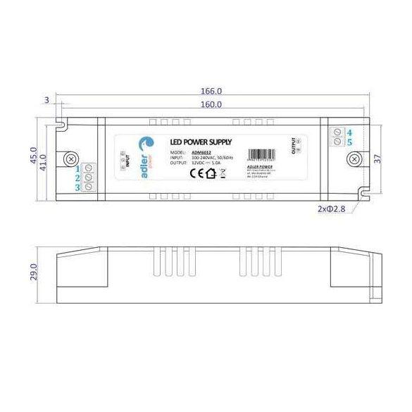 ADLER Led tápegység ADM-60-12 60W 12V