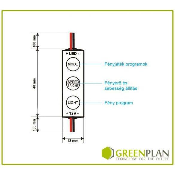 Mini LED Dimmer - nyomógombos - (12V/24V) 144/288W Black