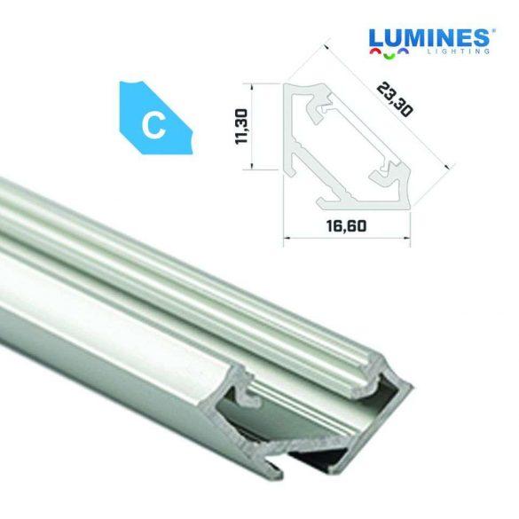 Led profil led szalagokhoz Sarokba rögzíthető ezüst 2 méteres alumínium