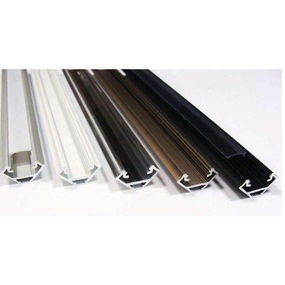 Led profil led szalagokhoz, sarokba rögzíthető, ezüst, 2 méteres, alumínium