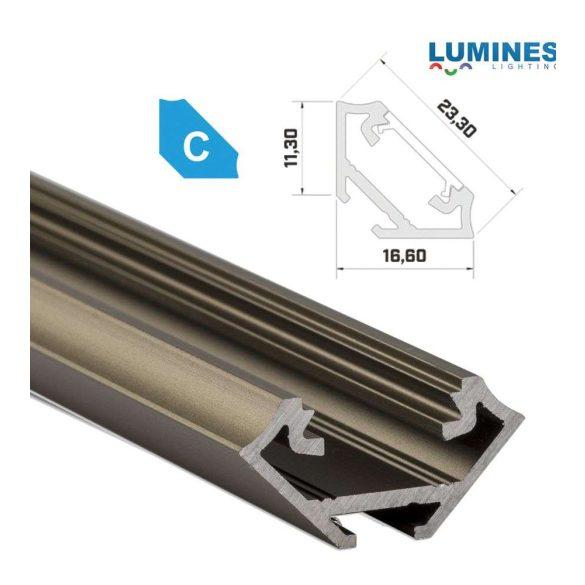 Led profil led szalagokhoz, sarokba rögzíthető, bronz, 2 méteres, alumínium