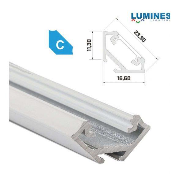 Led profil led szalagokhoz Sarokba rögzíthető fehér 2 méteres alumínium