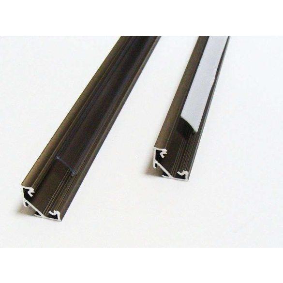 Led profil led szalagokhoz Sarokba rögzíthető fekete 2 méteres alumínium