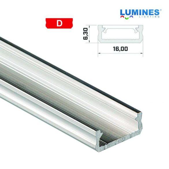 Led profil led szalagokhoz általános U alakú natúr 1 méteres alumínium